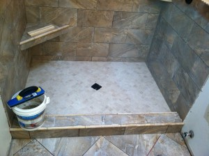 After the thinset mortars have cured the tile is grouted