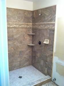 Completed shower ready for glass doors